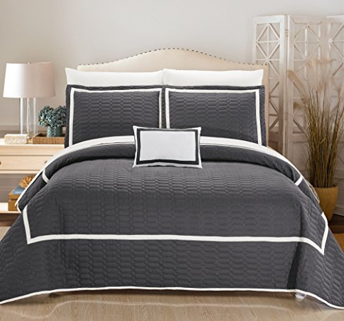 Chic Home 6 Piece Mesa Hotel Collection 2 Tone Banded Quilted Geometrical Embroidered, Quilt In A Bag, Includes Sheets Set Quilt Set Shams And Decorative Pillows Included, Twin, Grey by Chic Home