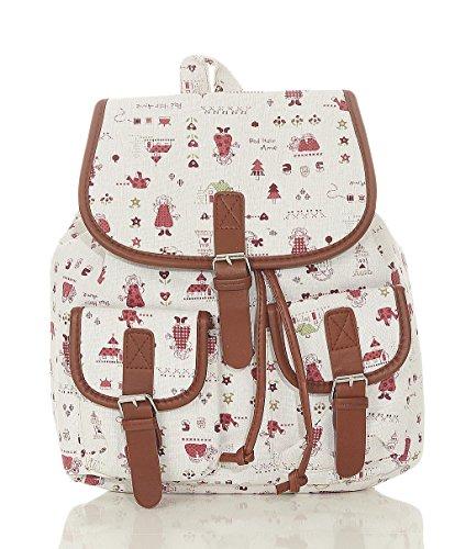 malito Damen Rucksack | Handtasche in trendigen Farben | Tasche mit vielen Mustern - Schultasche R800 (beige-Männchen)