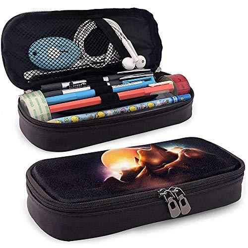 PU Leder Federmäppchen mit Reißverschluss, Digital Moonlight Art Stifthalter, Kosmetik Make-up Tasche, Schreibwaren Organizer Bleistiftbeutel
