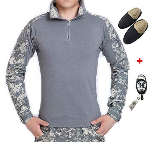 H Welt EU Taktisches Jagd Militär Langarm Shirt mit Ellenbogen Pads (ACU, L) -