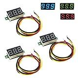IZOKEE 3 Stück 0,36 Zoll Mini Digital Voltmeter LED-Anzeige, Messbereich DC 0-100V Drei Drähte Spannungsprüfer, 3 Farben: Rot/Grün / Blau