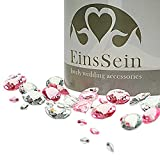EinsSein 600x Diamantkristalle 12-10- 5mm Mix klar-rosa Dekoration Streudeko Konfetti Tischdeko Hochzeit Diamanten Diamant Glas groß Geburtstag