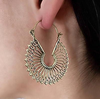 Grandes Créoles en laiton boucles d'oreilles - boucles d'oreilles tribales - boucles d'oreilles ethniques - boucles d'oreilles déclaration