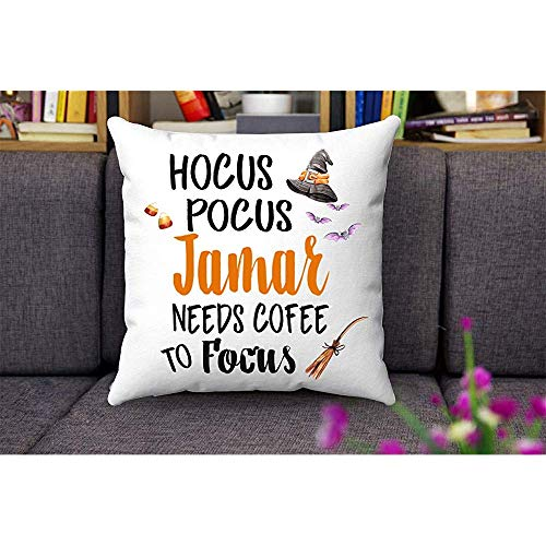 Halloween Decorations Indoor Throw Pillows Cover 18x18 - Hocus Pocus Jamar Needs...