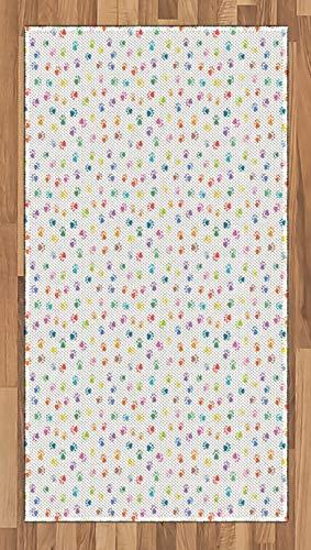 ABAKUHAUS Katze Teppich, Footprints Katzen Hunde Pfoten, Deko-Teppich Digitaldruck, Färben mit langfristigen Halt, 80 x 150 cm, Mehrfarbig