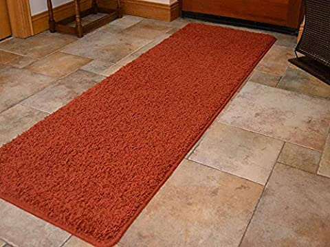 Burnt Orange Machine Washable Thick Soft Shaggy Rug. Available in