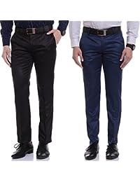 Singham Men's Formal Trousers - Combo Of Black & Blue (Pack Of 2)