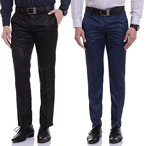 Singham Men's Formal Trousers - Combo of Black & Blue (Pack of...
