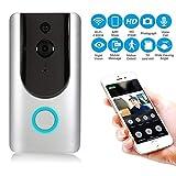 KOBWA Video Türklingel, Funk-Türklingel, 720P HD Tür Sicherheit Kamera, PIR Bewegungserkennung, IR-Nachtsicht, 2-Wege Audio, 166 ° Weitwinkel Linse, unterstützt SD-Karte