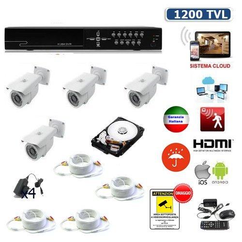 KIT VIDEOSORVEGLIANZA DVR 8 CANALI 4 TELECAMERE 1200 TVL 4 X 20 METRI HARD DISK (Tvl Telecamera Bullet)