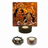 YaYa Cafe™ Maa Durga Maa Kali Tealight Candle Holder Divine Religious Navratras Durga Puja Gifts - Set of 3