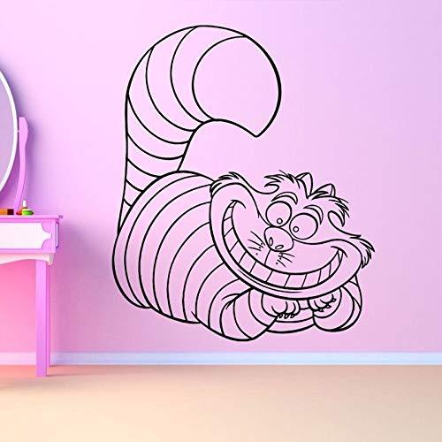 ljradj Katze Kitty Alice Schöne Wandaufkleber Für Kinderzimmer Home Art Vinyl Wandtattoos Schlafzimmer Dekoration Poster Wandbilder gelb 42X50 cm -