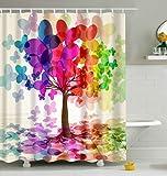 Bunter Schmetterling Baum Duschvorhang, Qile Top Qualität Anti-Schimmel & Anti-Bakteriell 3D Duschvorhänge für Bad Badezimmer 180 x 180 cm + 12 Haken