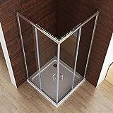 100 x 100 x 195cm Duschkabine Dusche Duschwand Schiebetür Eckeinstieg Echtglas