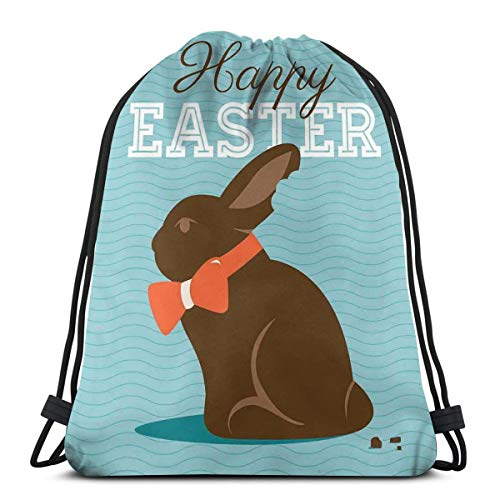 Gold Stripe Bow Tie (Jiger Drawstring Tote Bag Gym Bags Storage Backpack, Chocolate Bunny with An Orange Bow Tie On A Wavy Stripes Background,Very Strong Premium Quality Gym Bag for Adults & Children)