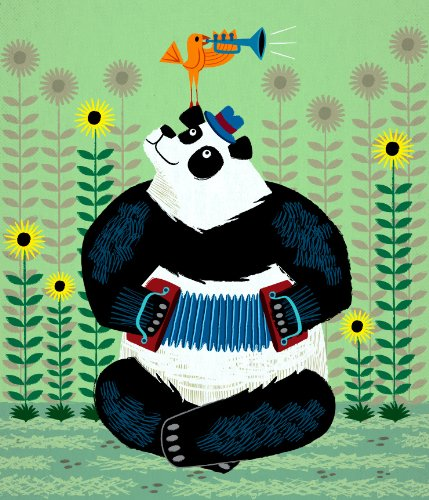 Panda Piazzolla and The Trumpet Bird - stampa d'arte Animal