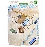 Bobobaby Jungen Geschenk-Set aus Baby Badetuch mit Kapuze 76x76cm und Baumwoll-Lätzchen - Blau Hund - (OKR-ECO-M)