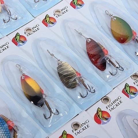 30 x Metal señuelos de pesca Spinner cebos surtidos los anzuelos chaperona.