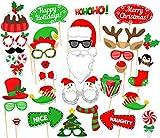 Weihnachten Photo Booth Props,Fotorequisiten,Foto Verkleidung Schnurrbart Lippen Brille Krawatte Hüten with stark klebend (31pcs for Weihnachten Party)