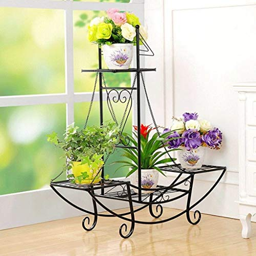 IU Desert Rose Étagère de balcon Iron Art European Fa Hion hanche Type Flower Pot Rack Intérieur et Extérieur Multi - torey Ru t-proof (4 couleurs) (Couleur: Noir, Taille: 76 * 24 * 74cm)