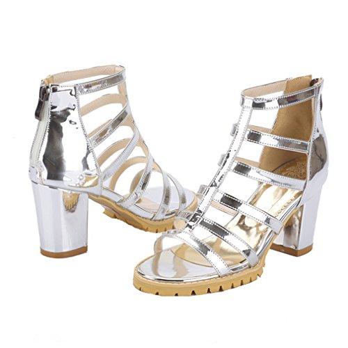 YE Damen T-spangen Offen Römersandalen high heels Blockabsatz Sandalen mit Reißverschluss Gladiator Modern Schuhe Silber