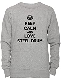Keep Calm And Love Steel Drum Unisexo Hombre Mujer Sudadera Jersey Pullover Gris Unisex Todos Los Tamaños Men's Women's Jumper Sweatshirt Grey All Sizes