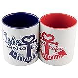 Tassen Set - Heimathafen (1 Rot - 1 Blau): persönliche Kaffeetassen für Freundin/Freund oder Partner/Partnerin - 2 Keramik Becher als Geschenkset mit Namen personalisiert