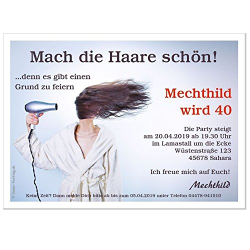 Einladungskarten zum Geburtstag Motiv Mach die Haare schön - in 2 Größen bestellbar, 40 Karten - 17 x 12 cm