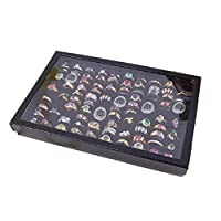 Malloom® Jewelry Rings Display Tray Velvet 100 Slot Case Box Jewelry Storage Box (Black)