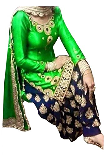 Georgette Party Wear Patiala Suit in Green Colour