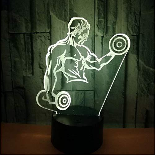 Hombres musculosos 3D Pequeña Luz Nocturna Con Mancuernas Fitness Siete Colores Táctil Control Remoto Led Regalo Visual 3D Lámpara Usb Luz Led
