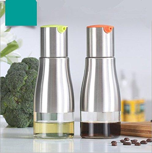 Syndecho 2PCS bottiglia per olio, in acciaio INOX vetro olio d' oliva aceto, 320ML per cottura/insalata/pane da forno/barbecue/cucina