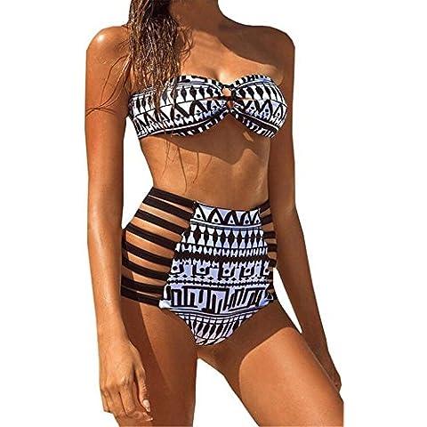 YARBAR 2 Piezas Imprimir Bikini palabra de honor de la alta cintura del traje de baño para mujeres