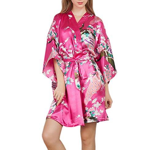 XueXian(TM) Damen Sommer Nachtwäsche Schlafanzug Kimono Robe mit Pfau und Blumen Muster in Vierzehn Farben Rosa