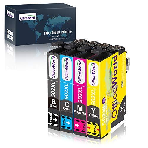 OFFICEWORLD 502XL Sostituzione per Epson 502 XL 502XL Cartucce d'inchiostro per Epson Expression Home XP-5100 XP5100 XP-5105 XP5105 Workforce WF-2860 WF-2860DWF WF2860 WF-2865 WF-2865DWF WF2865