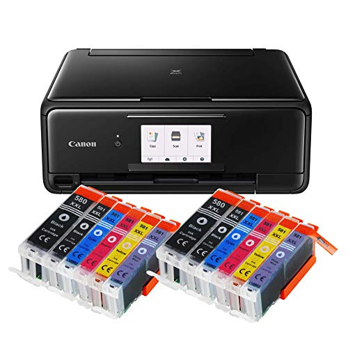 S-8150 All-in-One Farbtintenstrahl-Multifunktionsgerät (Drucker, Scanner, Kopierer, CD-Druck, USB, WLAN, LAN, Apple AirPrint, SD-Karte) Schwarz + 12er Set IC-Office 580XXL 581XXL ()