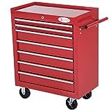 durhand Roller Tool Cabinet Storage Chest Box 7 Drawers Roll wheels Garage Workshop