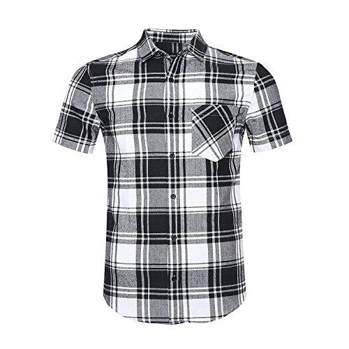 Nutexrol camicie da uomo camicie a quadri camicie a maniche lunghe, casual, comode e moderne per l'estate, maniche corte, bianco e nero (camicia di flanella), m