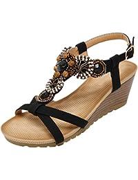 Mujer Sandalias Verano Bohemio Beads Soft Hebilla Cuña Sandalias de BIGTREE