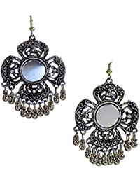 """""""Earring Afghani Mazari Mirror, Black And Silver Color, Alloy Dangle And Silver Plated Drop Earrings For Women..."""