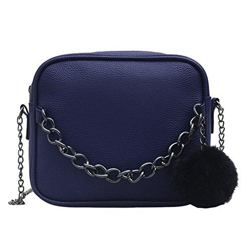 OuYou Mini Bolso De Hombro PU Cuero Bandolera Mensajero Bolsa De Mano Crossbody Bola Peluda De Cadena Para Moda Mujer (Azul)
