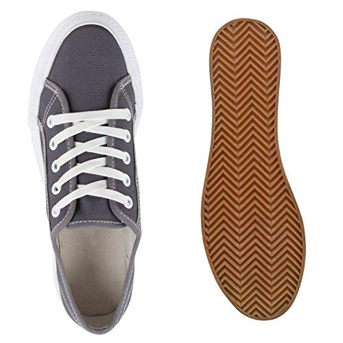Sportliche Damen Plateau Low Sneakers Bequeme Schnürer Schuhe Grau