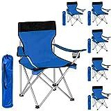TecTake 6x Silla de camping plegable azul negro + Portabebidas + Práctica bolsa de transporte bleu noir