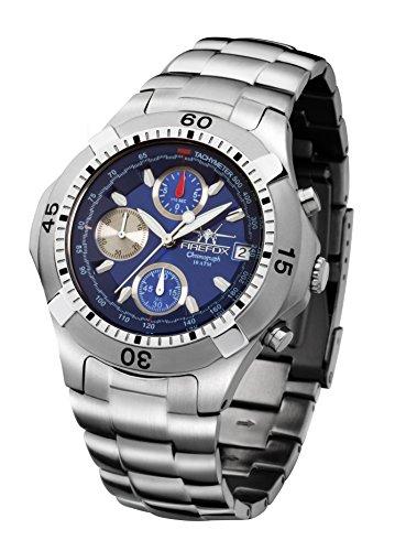 FIREFOX ERASER FFS16-103 blau Herrenuhr Armbanduhr Chronograph massiv Edelstahl Sicherheitsfaltschließe 10 ATM wasserdicht
