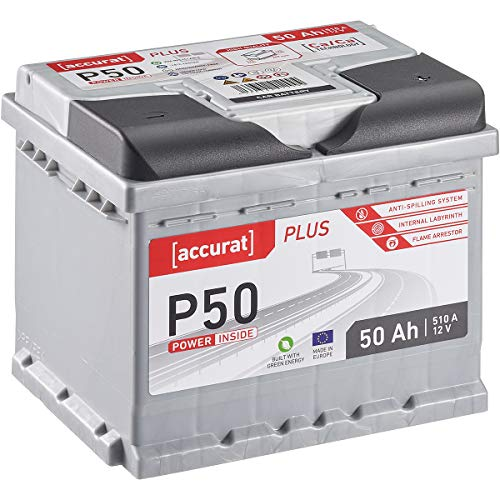 Accurat Autobatterie P50 Plus-Serie 12V 50Ah 510A Kaltstartkraft, Starterbatterie Blei-Säure Ca-Technologie, hohe Startleistung geladen & wartungsfrei nach EN