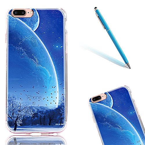 "iPhone 7Plus Handytasche, für iPhone 7Plus CLTPY Ultradünn Durchsichtig Original TPU Schale Etui, Kreativ Landschaft Muster Full Body Cover Case für 5.5"" Apple iPhone 7Plus (Nicht iPhone 7) + 1 x Blau Ziemlich Sternenhimmel"