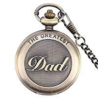 THE GREATEST DAD Bronze Effect Retro/Vintage Case Men's Quartz Pocket Watch Necklace - On 14.5