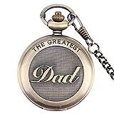 Der Tollste Vater Retro-/Vintage-Quarz-Taschenuhr für Herren mit Bronzeeffekt und Halskette – Kettenlänge 37 cm