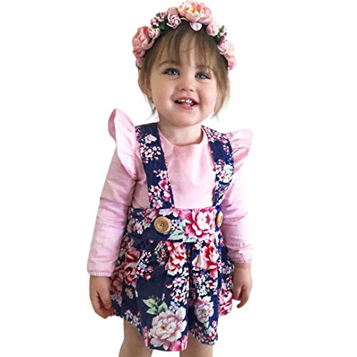 (BeautyTop 2PCS Kleinkind Baby Mädchen Tulpe Langarm Strampler Bluse + Floral Rock Set Infant Outfits Kleidung (90/12-18 Monate, Rosa))