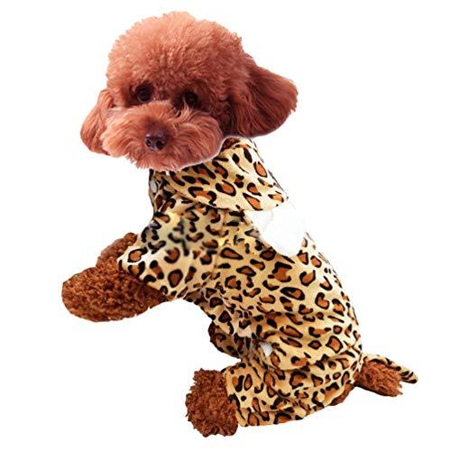 Xinwcang Haustier Kostüm für Hunde Halloween Leopard Druck Hundekostüm Kleidung für Weihnachten Kleid Karneval Hundemantel L